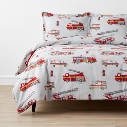Company Kids™ Firetrucks Organic Cotton Percale Duvet Cover Set