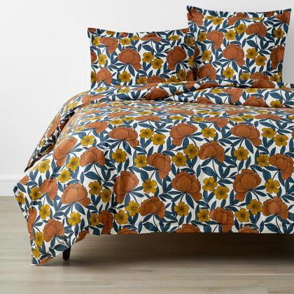 Company Cotton™ Alexandria Floral Wrinkle Free Sateen Duvet Cover - Orange