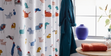 Company Cotton Percale Winter Animals Shower Curtain