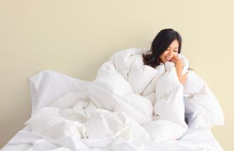 girl in comforter