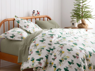 festive flannel sheets on bed